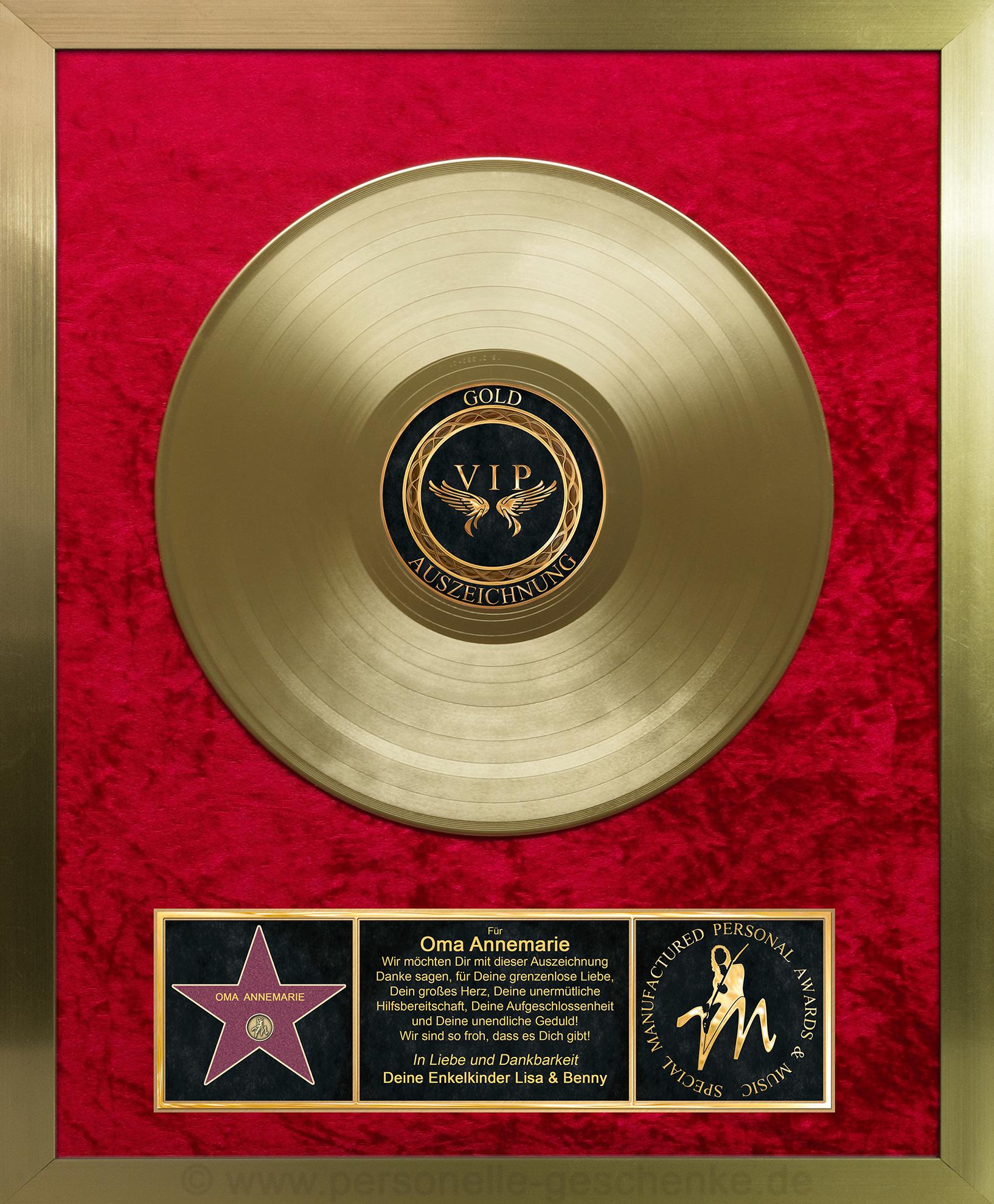 Goldene Schallplatte Gold Auf Rot